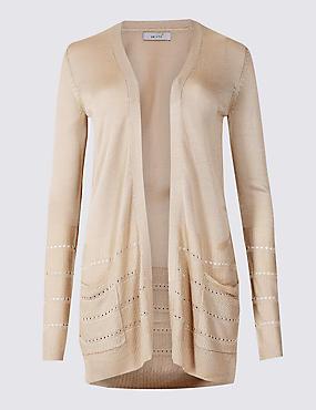 Textured Long Sleeve Cardigan, LIGHT PUTTY, catlanding