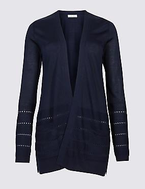 Textured Long Sleeve Cardigan, INDIGO, catlanding