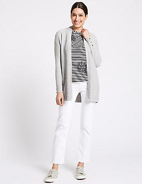 Textured Stitch Neck Detail Cardigan, MID GREY MARL, catlanding