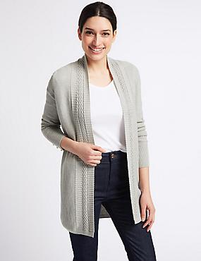 Cotton Blend Textured Stitch Detail Cardigan, MID GREY MARL, catlanding