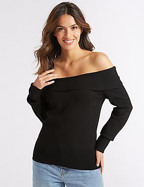 Textured Long Sleeve Bardot Jumper, BLACK C, catlanding