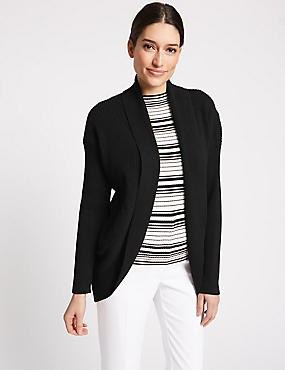 Textured Open Front Cardigan , BLACK, catlanding