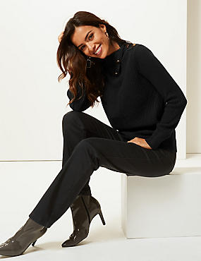 Textured Split Button Neck Jumper, BLACK, catlanding