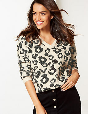 Animal Print V-Neck Jumper, OATMEAL MIX, catlanding