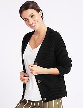 Textured Cardigan , BLACK, catlanding