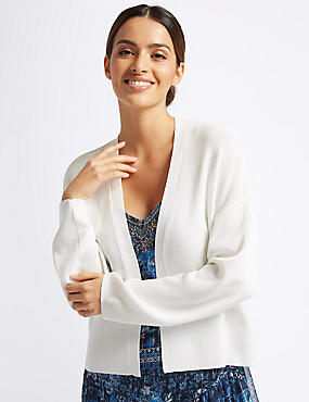 Textured Open Front Cardigan , SOFT WHITE, catlanding