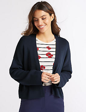 Textured Open Front Cardigan indigo Marks and Spencer