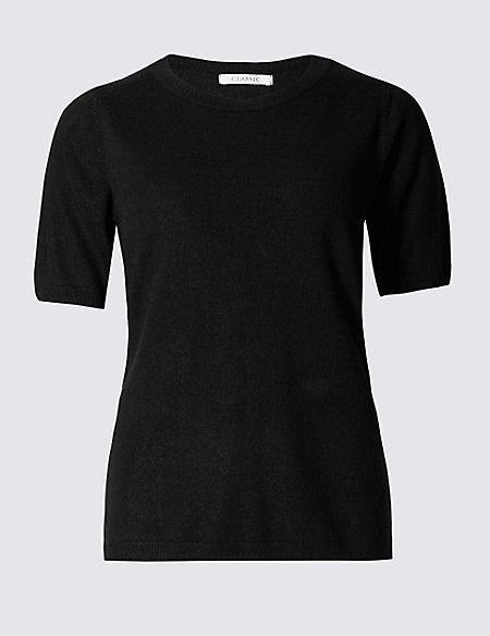 Ribbed Round Neck Short Sleeve Jumper Classic M Amp S