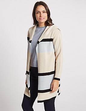 Longline Striped Collared Neck Cardigan