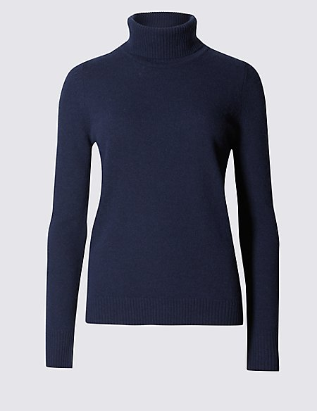 Pure Lambswool Polo Neck Jumper