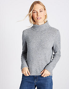 Lambswool Rich Roll Neck Jumper