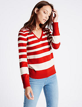 Lambswool Rich Striped V-Neck Jumper