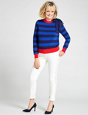 Pure Cotton Bow Detail Stripe Jumper, MULTI, catlanding