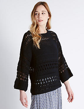 Pure Cotton Wide Sleeve Open Stitched Jumper