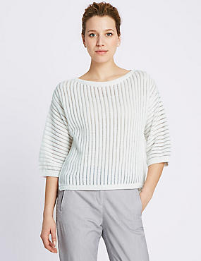 Cotton Rich 3/4 Sleeve Sheer Striped Jumper