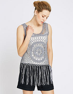 Cotton Rich Circle Crochet Vest Jumper with Camisole