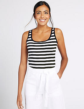 Pure Cotton Striped Scoop Neck Vest Top