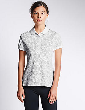 Cotton Rich Leopard Print Polo Shirt