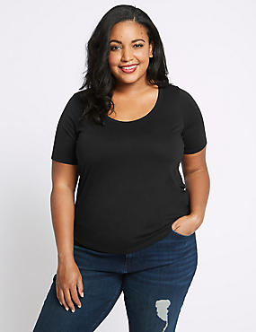 CURVE Drape Round Neck Short Sleeve T-shirt