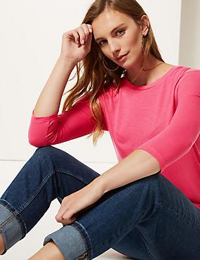 Round Neck 3/4 Sleeve Longline T-Shirt , PINK, catlanding