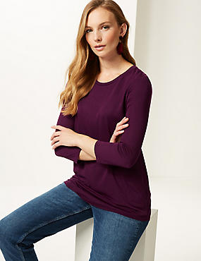 Round Neck 3/4 Sleeve Longline T-Shirt , PLUM, catlanding