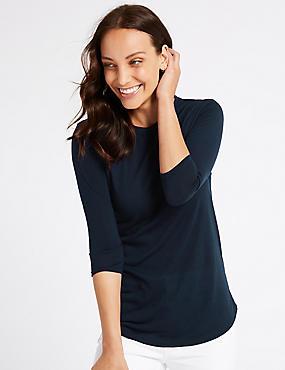 Round Neck 3/4 Sleeve Longline T-Shirt , NAVY, catlanding