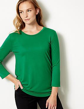 Round Neck 3/4 Sleeve Longline T-Shirt , EMERALD, catlanding