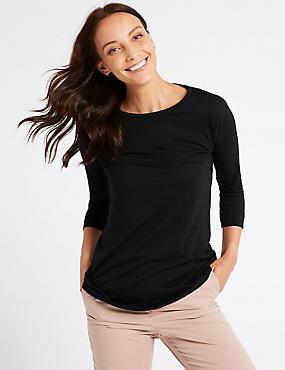 Round Neck 3/4 Sleeve Longline T-Shirt , BLACK, catlanding