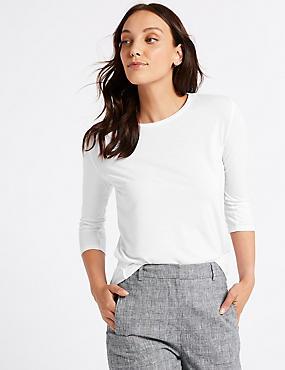 Round Neck 3/4 Sleeve Longline T-Shirt , WHITE, catlanding
