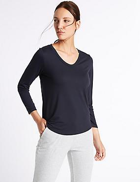 Scoop Neck 3/4 Sleeve T-Shirt, NAVY, catlanding