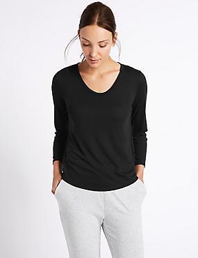 Scoop Neck 3/4 Sleeve T-Shirt, BLACK, catlanding