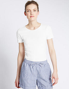 Pure Cotton Crew Neck Short Sleeve T-Shirt