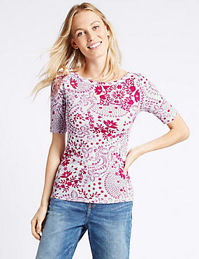 Pure Cotton Swirl Print Half Sleeve T-Shirt