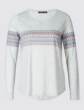 PLUS Fairisle Print Long Sleeve T-Shirt