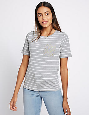 Pure Cotton Striped Short Sleeve T-Shirt