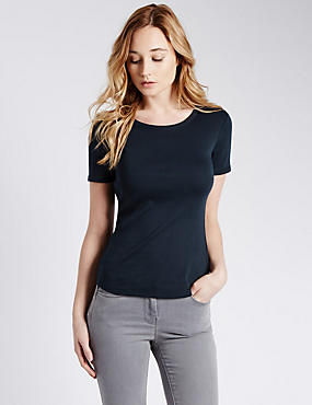 Pure Cotton Round Neck Short Sleeve T-Shirt