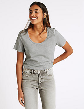 Pure Supima Cotton Scoop Neck T-Shirt, GREY, catlanding