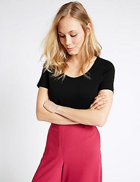Pure Supima Cotton Scoop Neck T-Shirt, BLACK, catlanding