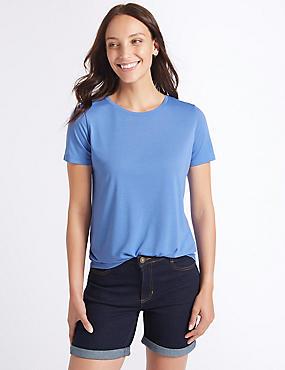 Relaxed Crew Neck T-Shirt, BLUE, catlanding