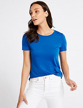 Relaxed Crew Neck T-Shirt, BRIGHT BLUE, catlanding