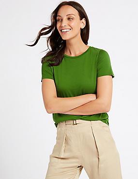 Round Neck Short Sleeve T-Shirt, GREEN, catlanding