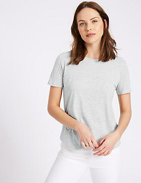 Round Neck Short Sleeve T-Shirt, GREY MARL, catlanding