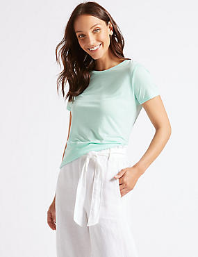 Relaxed Crew Neck T-Shirt, PALE JADE, catlanding