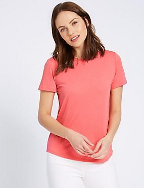 Round Neck Short Sleeve T-Shirt, WATERMELON, catlanding