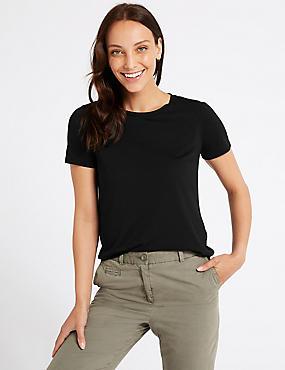 Round Neck Short Sleeve T-Shirt, BLACK, catlanding