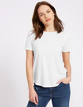 Round Neck Short Sleeve T-Shirt, WHITE, catlanding