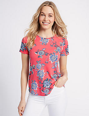 Floral Print Round Neck Short Sleeve T-Shirt, PINK MIX, catlanding
