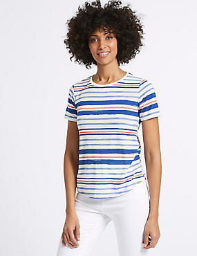 Striped Round Neck Short Sleeve T-Shirt