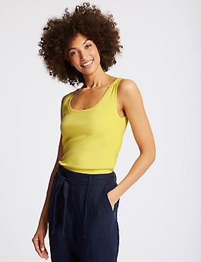 Pure Cotton Round Neck Vest Top, MIMOSA, catlanding