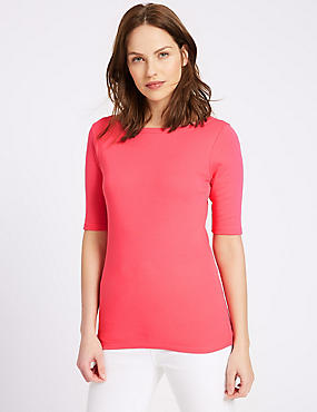 Pure Cotton Slash Neck Half Sleeve T-Shirt, BRIGHT PINK, catlanding